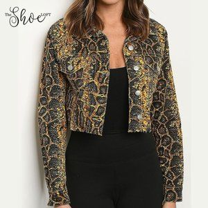 Denim Snakeskin Cropped Jacket